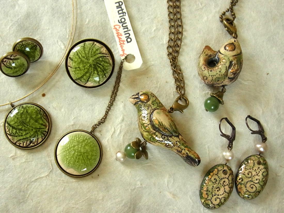 Keramikschmuckminiaturen grün